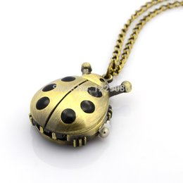 """Wholesale Watch Lobster Clasp - Wholesale- Pocket Watch Alloy Ladybug Pendant Necklace Quartz Antique Bronze Pocket Watch with Iron Chains and Lobster Claw Clasps 31.9"""""""