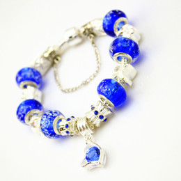 Wholesale Silver Bangles For Children - Popular European Brand Silver Plated Crystal Heart Charm Bracelet & Bangle With Blue Glass Beads Jewelry for Child