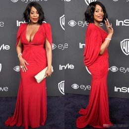 Wholesale Plus Size Cape Red - Niecy Nash Plus Size Red Golden Globe Red Carpet Evening Gowns with Cape Mermaid Chiffon Deep V-Neck 2017 Women Formal Celebrity Dress Cheap
