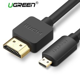 Wholesale Premium Hdtv - Wholesale- Ugreen Micro HDMI to HDMI Cable1.5m 2m 3m 3D 4K*2K Male-Male High Premium Gold-plated HDMI Adapter for Phone Tablet HDTV Camera