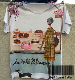 Wholesale birthday shirt women - Wholesale-Track Ship+Vintage Retro Good Feeling T-shirt Top Tee Dachshund Little Girl Birthday Cupcake Cakes in Shop Window 0305
