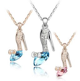 Wholesale Girl Shoes Pendant Necklace - Girl Noble 18K Gold Plated Jewelry Cinderella Crystal shoes Pendant Austria Crystal Necklace Necklaces & Pendants silver 20pcs free shipping