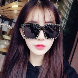 Wholesale Newest Designing Sunglasses - Newest Brand Design Rivets Square Frame Women Sunglasses Female Rivets Decorative Fashion Summer glasses Vintage Coating SunGlasses Wholesa