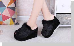 Wholesale Wedges Heels Slippers - Beach Fur Slippers 2016 Wedges Sandals Casual Platform Shoes Woman Creepers Winter Flip Flops Slip On Flats
