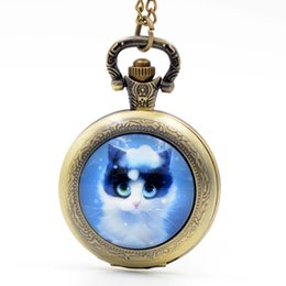 Wholesale Cute Pocket Watch Necklace - Wholesale-Fashion Lovely Cute Blue Cat Kitty Black Silver Bronze Quartz Pocket Watch Analog Pendant Necklace Men Women Watches Girl Gift
