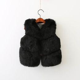 Wholesale Down Vest Fur Collar - 2017 Autumn Winter New Girls Waistcoats Faux Fur Sleeveless Thick Vest Colorful Cute Coat Children Clothing 2-7T E708032