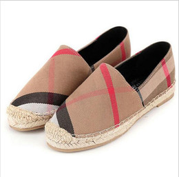 Wholesale Canvas Espadrille - womens espadrilles casual fisherman shoe checks grids stripped canvas slip on snickers skate ballet flats loafers