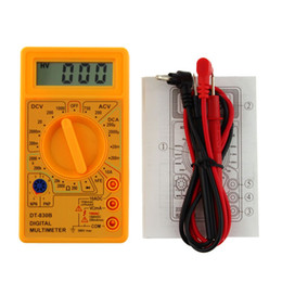 Wholesale Voltmeter Lcd - Yellow LCD Digital Multimeter DT-830B Electric Voltmeter Ammeter Ohm Tester AC DC 750 1000V Amp Volt Ohm Tester Meter