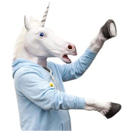 Wholesale Halloween Rubber Face Masks - Wholesale-Halloween Costume Prop Unicorn Head Cosplay Latex Rubber Face Mask and Hooves Gloves Animal Adult Silicone Party Masks