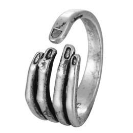 Wholesale Girls Hand Rings - 5pcs lot Real Pure 925 Sterling Silver Unique Adjustable Hand Ring for Women Girls Christmas Party Gift Jewelry Anillo de plata