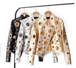 Wholesale Ladies Leather Coat Fur - Women Leather Jackets New Fashion rivet Holes Motorcycle Bikers Faux PU Leather Jackets Gold Stand Collar ladies Coats