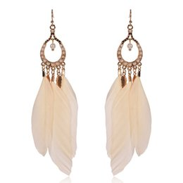 Wholesale Pearl Chandelier Lighting - Light pink pink feather alloy Pearl Earrings FZ60
