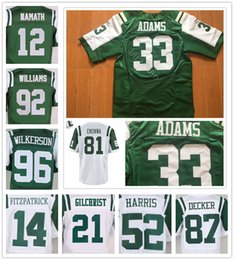 Wholesale 12 Joe Namath Ryan Fitzpatrick Darrelle Revis Eric Decker Leonard Williams Muhammad Wilkerson Jamal Adams Jerseys