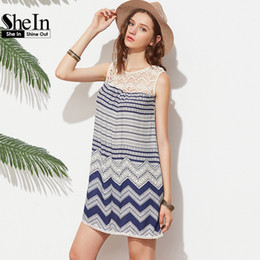 Wholesale Neck Yoke - Dresses Beach Women Striped Multicolor Sleeveless Print Lace Yoke Shift Loose Tank Boho Sexy Rayon Dress