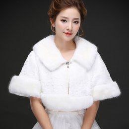 Wholesale Real Fur Shawl Shrug - Real photos Wholesale Luxurious In Stock Bridal Wraps Fake Faux Fur Hollywood Glamour Fast ship Cape Stole Short Sleeve Coat Shrug Shawl