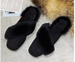 Wholesale Real Injection - Real rabbit hair autumn and winter new women's shoes are decorated in Korean fashion women's slippers with a style of anti-skid and warm cot