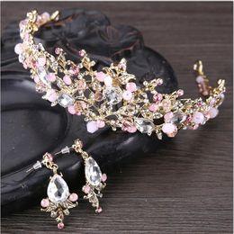 Wholesale Crystal Pageant Earrings - Jane Vini 2018 Pink Bridal Crystal Crowns And Tiaras With Earrings Princess Pageant Crown Wedding Hair Accessories Rhinestone Tiara Headband