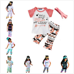 Wholesale Girls Shirt Style - Wholesale 2017 New Summer Baby Girls Clothes Sets Letter Arrow T-shirt+Pants+Bow Headbands Children 3pcs Set Boutique Kids Girl Clothing Set