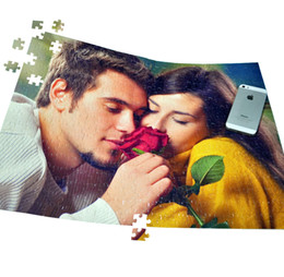 Wholesale Unique Gifts Valentine - Wholesale- SST* 38X52CM with 408 pieces Customized Photo Puzzle Valentine Boyfriend Lover Gift Personalized Jigsaw DIY Unique Gift Kids Toy