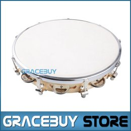 "Wholesale birch woods - Wholesale-10"" Tambourine Capoeira Leather Drum Pandeiro Samba Brasil Wooden Tamborine Precussion Music Instrument For Sale"