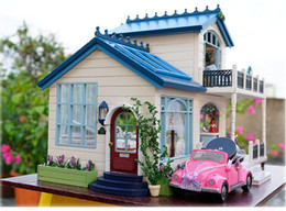 Wholesale Plastic Dollhouse Dolls - DIY Doll House PROVENCE Miniature Wooden Building Model Dollhouse Furniture Model Toys for Children Brithday Gift