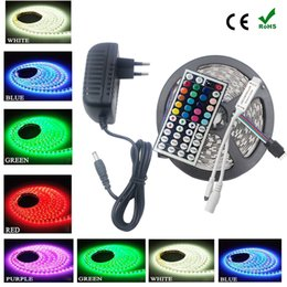 Wholesale Diode Ribbon - SMD RGB LED Strip rgb strip Led Light 5050 5m 10m 30Leds m led Tape Waterproof RGB diode ribbon 44Key IR Controller with DC 12V driver