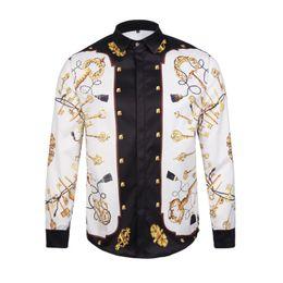 Wholesale Men Metrosexual - 2017 Italy new fashion color print 3D metrosexual man mixed luxury Casual Shirt Long Sleeved Shirt Mens 2XL Harajuku Medusa