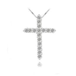 Argentina Collar colgante cruzado de plata 925, plata esterlina 925 con cristal Austriaco de lujo, collares plateados platino de 3 capas supplier crystal cross sterling silver necklace Suministro