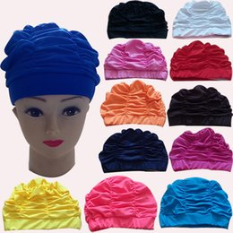 Wholesale Turban Swim Caps - Mixed colors Ladies Womens Swimming Hat Swim Bathing Turban woman Shower Pleated Swimming Caps M984