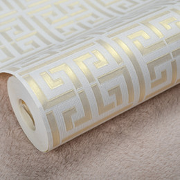 Wholesale Gold Wallpaper For Bedroom - Wholesale-Contemporary Modern Geometric Wallpaper Neutral Greek Key Design Vinyl PVC Wall Paper for Bedroom 0.53m x 10m Roll Gold on White
