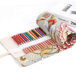 Wholesale Rolling Bag School - Wholesale- Fashion 36 48 72 Holes Hydrangea Pattern Handmade Canvas Pencil Case Roll Up Bag For Student Girl Stationery Gift CC