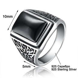 Wholesale Antique Wedding Jewelry Sets - ashion Jewelry Rings Aceworks Retro Black Stone 100% 925 Sterling Silver Metal Europe Rings Men Wedding Bridal Fine Jewelry Antique Silve...