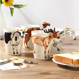 Wholesale Hand Painted Elephant - Festival gift Ceramic coffee milk tea mug 3D animal shape Hand painted Deer Giraffe Cow Monkey Dog Cat Camel Elephant cup