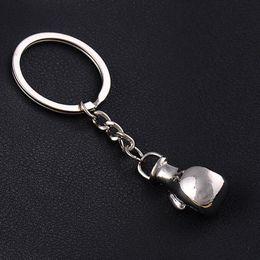 Wholesale Keychain Gift Boxes - Creative 2pcs Lot Metal Cartoon Boxing Glove Shape Keychain Key Chains Car Key Ring Keychain Fashion Jewelry Prize Gift