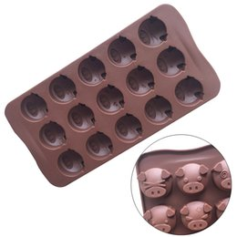 Wholesale Ice Mold Animal - 15 Pig Shaped Chocolate Mold Silicone Animal Cake Ice Fondant Sugar Mould For Baking Tool