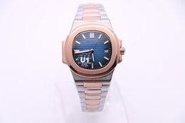 Wholesale Steel Lettering - U1 pp automatic movement high quality Bottom cover lettering rose gold blue dial date Nautilus Transparent luxury brand men's wristwatch