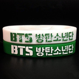 Wholesale Silicone Cuffs - Wholesale- 50pcs green and white even mix K-POP BTS wristband silicone bracelets free shipping