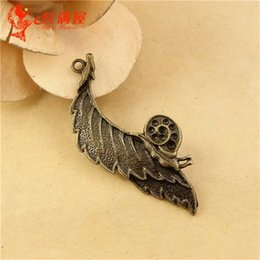 Wholesale Bronze Snail - 50*19MM Antique Bronze metal leaves charm pendant beads, snail accessories national retro jewelry wholesale vintage leaf charms