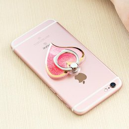 Wholesale Purple Heart Stickers - Love heart liquid sand that ring buckle stent back stickers lazy stent 360 degree rotating bracket