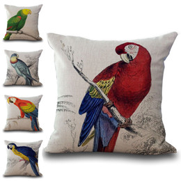 Wholesale Parrot Covers - Talking Bird Parrots Pillow Case Cushion Cover Linen Cotton Throw Pillowcases Sofa Car Decorative Pillowcover PW579 Drop shipping
