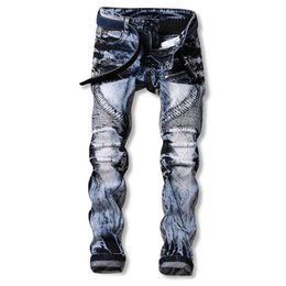 Wholesale Punk Rock Pants Zippers - Wholesale- Men Jeans Ripped Biker Hole Denim robin patch Harem Straight punk rock jeans for men Pants