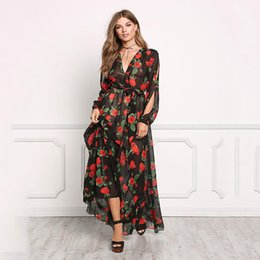 Wholesale Long Sleeved Peplum Dresses - New Arrival Western Style Wholesale V Neck Hollow Elastic Waist Long Sleeved Floral Print Sexy Casual Festival Dress One Piece Shipping