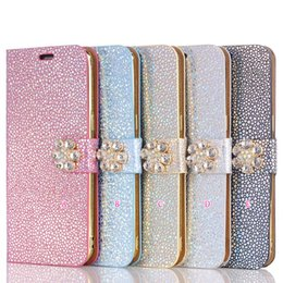 Wholesale Iphone Flip Diamond - Luxury Bling Stone Wallet Leather For Iphone 7 Plus 6 6S Galaxy S8 Flower Diamond Deluxe Cover Chromed Card ID Slot Sparkle Flip Case