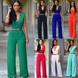 Wholesale V Neck Cocktail Jumpsuit - Ladies Solid Color V-Neck Sleeveless Slim Tunic Cocktail Party Evening Playsuit Womens Loose Wide Leg Jumpsuit Trouser With Belt
