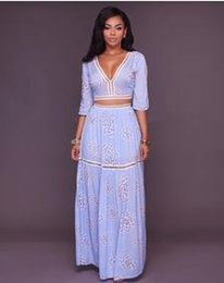 Wholesale Casual Mid Length Beach Dresses - Summer new dresses two-piece suits sexy deep-V printing hollow dress fashion casual beach skirt beach clothes daily wear Solid color Long sk