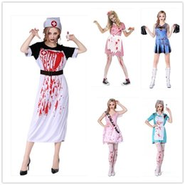 Wholesale Halloween Costume Cheerleader - Female Nurse Halloween Costume Horror Bloody Waitress Cheerleader Party Dress Adult