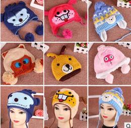 Wholesale Crochet Knited Hat - Fashion Handmade Knited Caps Knitted crochet wool hat with ear flap Winter Warm Hats Cute Kids Hats Children Crochet Hat