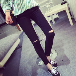 Wholesale Womens Torn Jeans - 2016 High Elastic Fashion Cotton Womens Black High Waist Torn Jeans Ripped Hole Knee Skinny Pencil Pants Slim Capris For Women