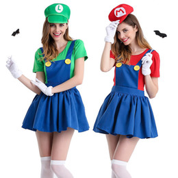 Wholesale Cheap Clothes Stock - Mary Film Theme Costumes Spaghetti Straps Cosplay Belt Pants Girls Halloween Clothes Electric Workers Cosplay Cheap Wear in Stock FS3118