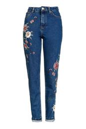 Wholesale Women Jeans Size 36 - 2016 Fashion Womens Jeans MOTO Dark Blue Floral Embroidered Denim Pants Female Jeans us size 34 36 38 40